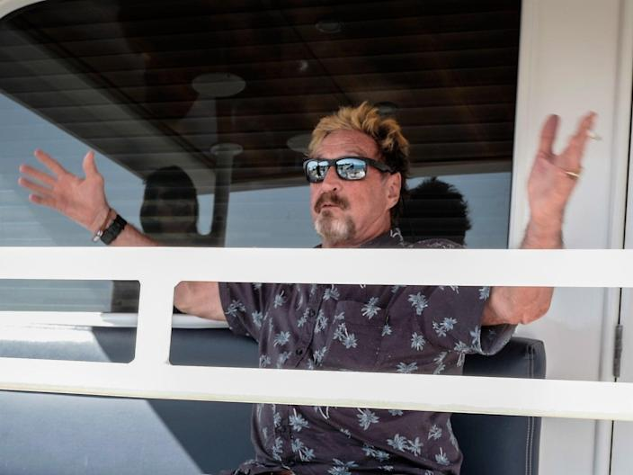 <p>US millionaire John McAfee on his yacht anchored at the Marina Hemingway in Havana, in June 2019</p> (AFP via Getty Images)