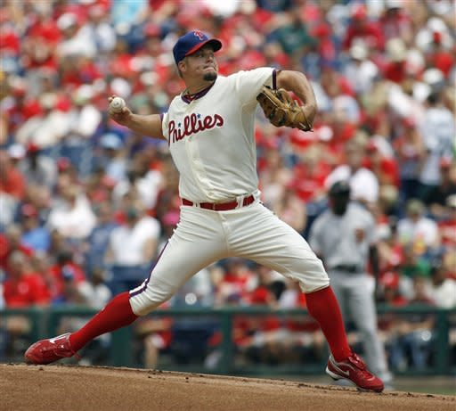 Philadelphia Phillies starting pitcher Joe Blanton throws against the San Francisco Giants in the first inning of a baseball game on Sunday, July 22, 2012, in Philadelphia. (AP Photo/H. Rumph Jr)
