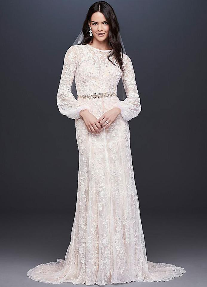 "Melissa Sweet Bishop Sleeve Lace Sheath Wedding Dress $1158, David's Bridal. <a rel=""nofollow"" href=""https://www.davidsbridal.com/Product_bishop-sleeve-lace-sheath-wedding-dress-ms251195_long-sleeve-wedding-dresses"">Get it now!</a>"
