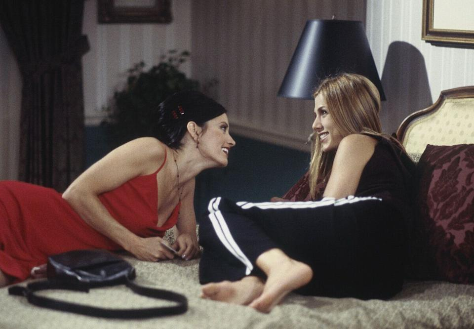 'The One After Ross Says Rachel' Episode 1 -- Pictured: (l-r) Courteney Cox as Monica Geller, Jennifer Aniston as Rachel Greene  (Photo by J. Delvalle/NBC/NBCU Photo Bank via Getty Images)