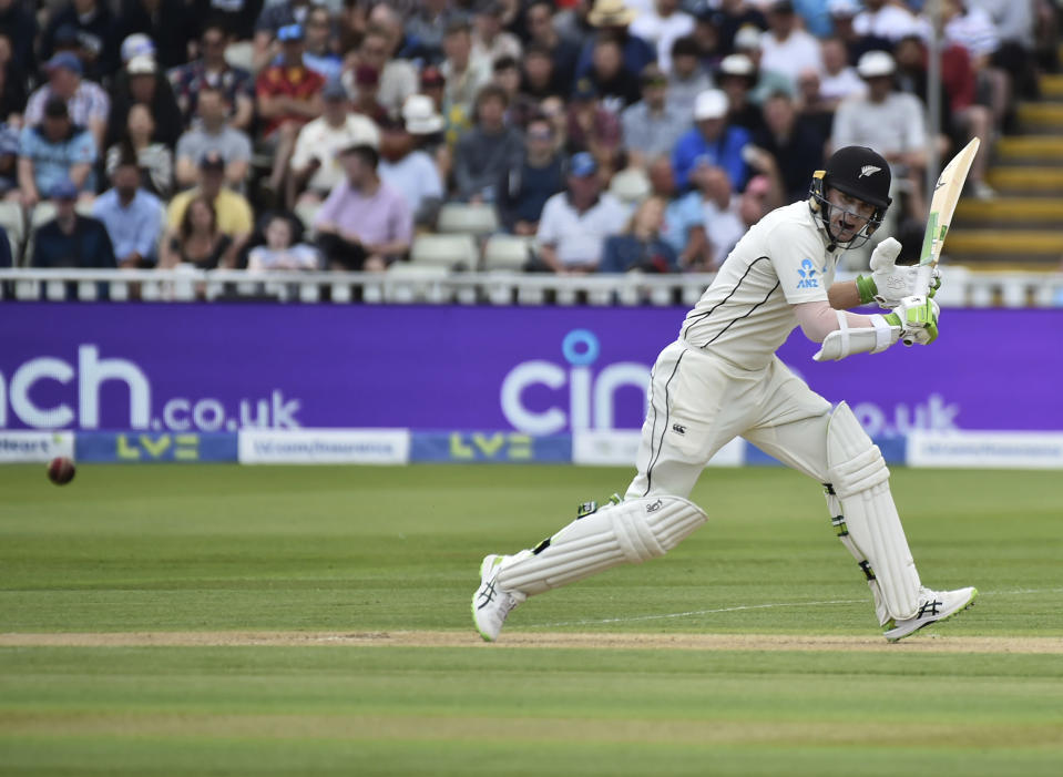 New Zealand's captain Tom Latham plays a shot during the second day of the second cricket test match between England and New Zealand at Edgbaston in Birmingham, England, Friday, June 11, 2021. (AP Photo/Rui Vieira)
