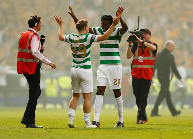 Soccer Football - Scottish Cup Final - Celtic vs Motherwell - Hampden Park, Glasgow, Britain - May 19, 2018 Celtic's James Forrest celebrates with Dedryck Boyata after the match Action Images via Reuters/Jason Cairnduff
