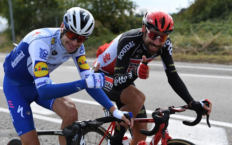 Pieter Serry (Deceuninck-Quick Step) and Thomas De Gendt (Lotto-Soudal) - GETTY IMAGES