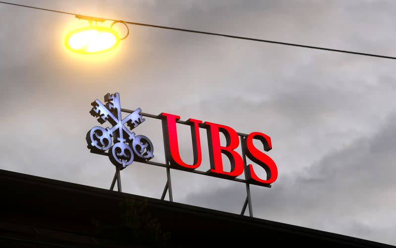 FILE PHOTO: Logo of Swiss bank UBS is seen in Zurich