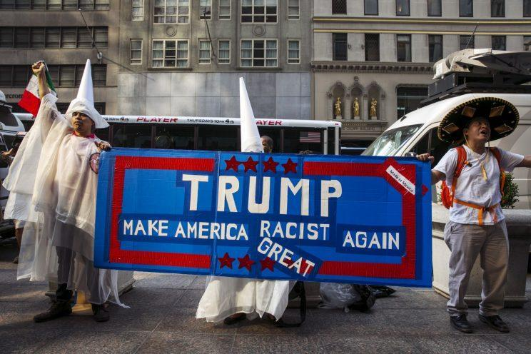 Demonstrators outside Trump Tower in New York City protest Donald Trump's candidacy for U.S. president on Sept. 3, 2015. (Photo: Lucas Jackson/Reuters)