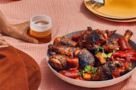"""Just before serving, toss the peppers and the cold grilled chicken together, then pour the juices left over from marinating the peppers all over the chicken to moisten, flavor, and glaze it. <a href=""""https://www.epicurious.com/recipes/food/views/cold-paprika-grilled-chicken-with-marinated-bell-peppers?mbid=synd_yahoo_rss"""" rel=""""nofollow noopener"""" target=""""_blank"""" data-ylk=""""slk:See recipe."""" class=""""link rapid-noclick-resp"""">See recipe.</a>"""