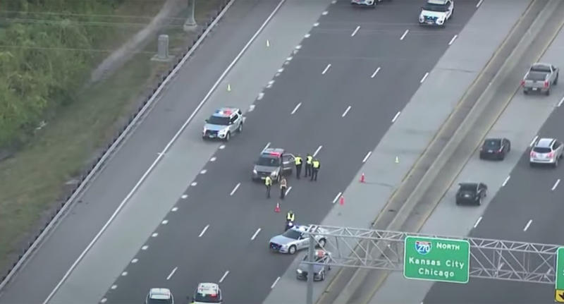 Police block the Interstate 270 where Zaelynn Wiseman was hit by a car.