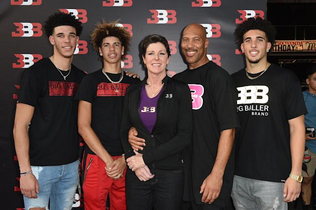 "LaVar Ball said that he thinks his wife had a major stroke — one that nearly killed her — last year so that she can ""be quiet for a minute."" (Joshua Blanchard/Getty Images)"