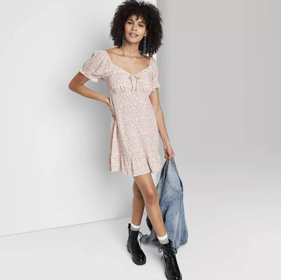 <p>This <span>Wild Fable Sweetheart Ruffle with Tie-Back Dress</span> ($25) features puff sleeves, playful tie details and a sweetheart neckline for a modern and fun silhouette.</p>