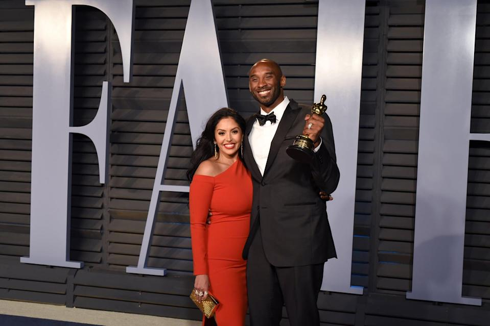 BEVERLY HILLS, CA - MARCH 4: Vanessa Bryant and Kobe Bryant attend 2018 Vanity Fair Oscar Party Hosted By Radhika Jones - Arrivals at Wallis Annenberg Center for the Performing Arts on March 4, 2018 in Beverly Hills, CA. (Photo by Presley Ann/Patrick McMullan via Getty Images) *** Local Caption *** Vanessa Bryant;Kobe Bryant