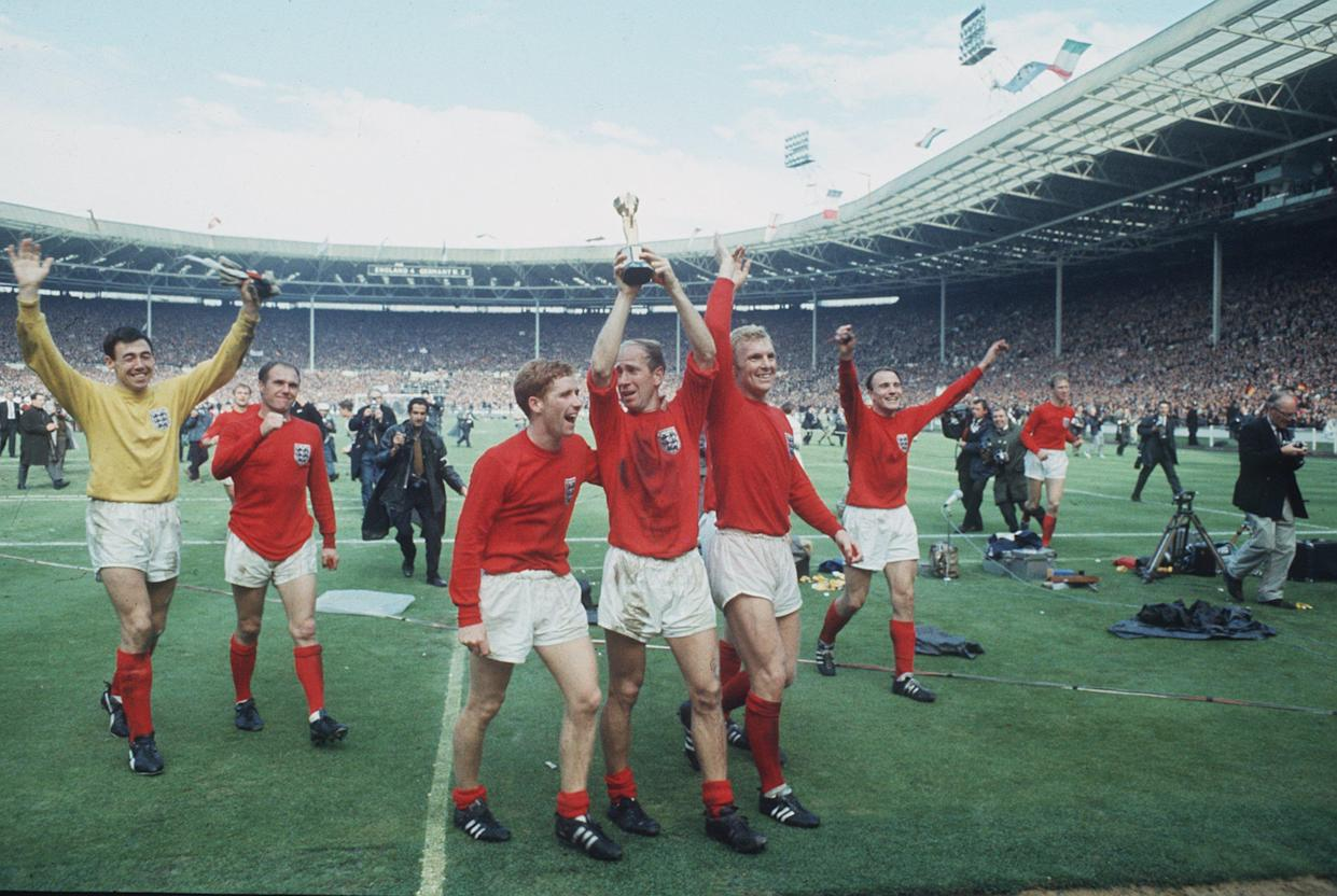 England celebrate lifting the 'gleaming Jules Rimet' in 1966, the only time they've won the World Cup. (Getty)