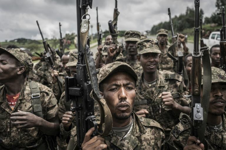 Soldiers from the Ethiopian National Defence Forces pictured during training in Amhara on September 14, 2021 (AFP/Amanuel Sileshi)