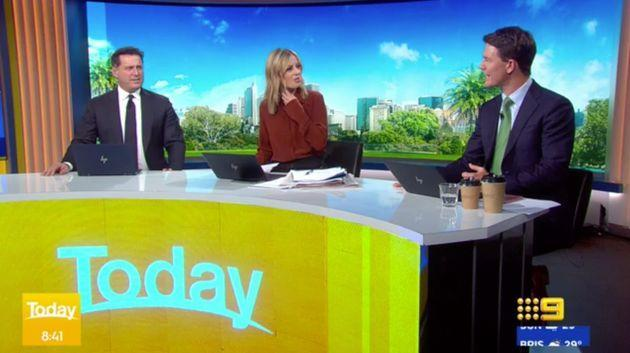 'Today' show hosts Karl Stefanovic and Allison Langdon ask presenter Alex Cullen about his croaky voice on TV