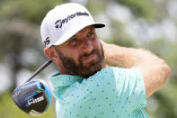 Dustin Johnson watches his drive down the third fairway during the second round of the Palmetto Championship golf tournament in Ridgeland, S.C., Friday, June 11, 2021. (AP Photo/Stephen B. Morton)