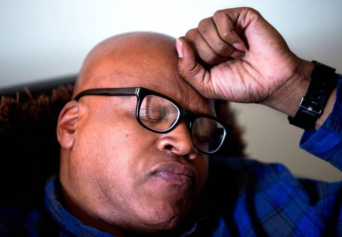 """Leon Brown, 47, spends much of his time indoors praying and meditating at the home he shares with sister, Geraldine Brown, 49, and brother Henry McCollum, 50, in Fayetteville, N.C. """"I try to think about my future. I can't change the past. I try not to think about the past. I can't erase things when I was young. I'm starting out now as an adult,"""" he says. The two brothers served 31 years for a rape and murder of a young girl which they did not commit, were freed in September 2014. Both are happy to out of prison, but find that it's been a hard adjustment on the outside. They have no income and no car, which makes it difficult to find work and earn money."""