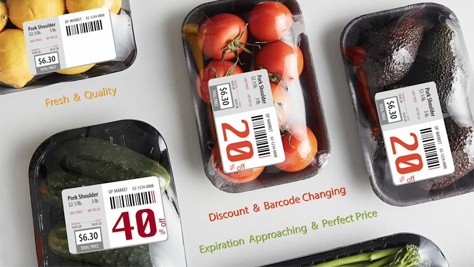 <p>Barcodiscount designed stickers that would change colors and numbers to reduce waste for supermarkets. (Photo courtesy of Barcodiscount/James Dyson Awards)</p>