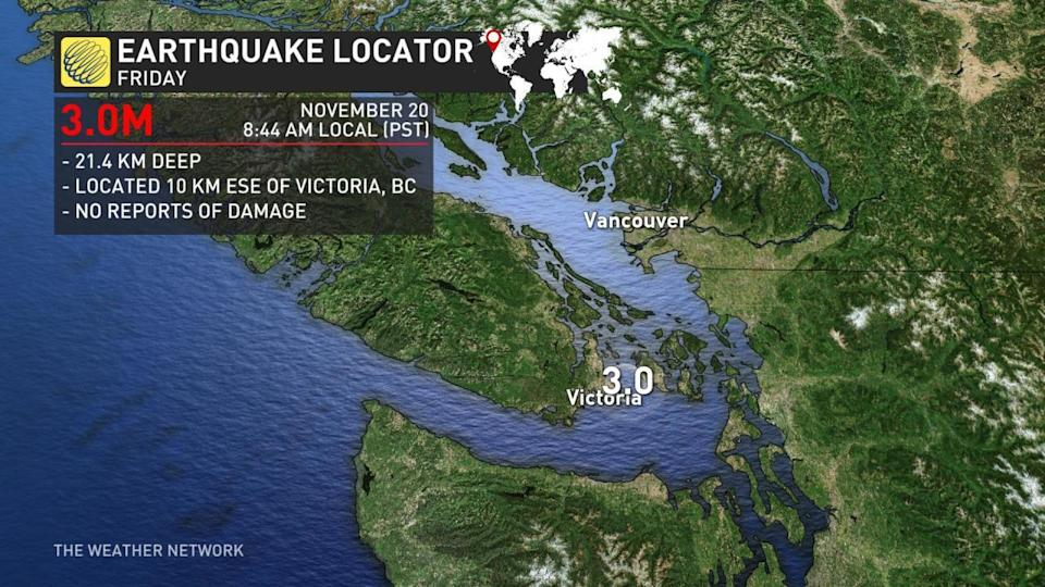 3.0 magnitude earthquake strikes within 100 km of Vancouver, B.C.