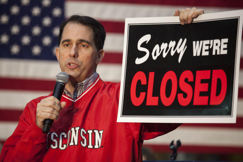 Scott Walker's days as the union-busting governor of Wisconsin may be over, but the effects of his efforts will linger. (Darren Hauck via Getty Images)