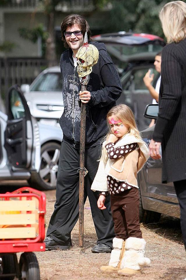 """Oil heir Jason Davis brought along a Halloween prop to set the proper mood: a stick with a skull impaled on top. He said it was a present for his girlfriend. <a href=""""http://www.pacificcoastnews.com/"""" target=""""new"""">PacificCoastNews.com</a> - October 11, 2009"""