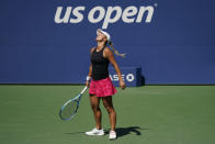 Yulia Putintseva, of Kazakhstan, reacts during a match against Petra Martic, of Croatia, during the fourth round of the US Open tennis championships, Sunday, Sept. 6, 2020, in New York. (AP Photo/Seth Wenig)