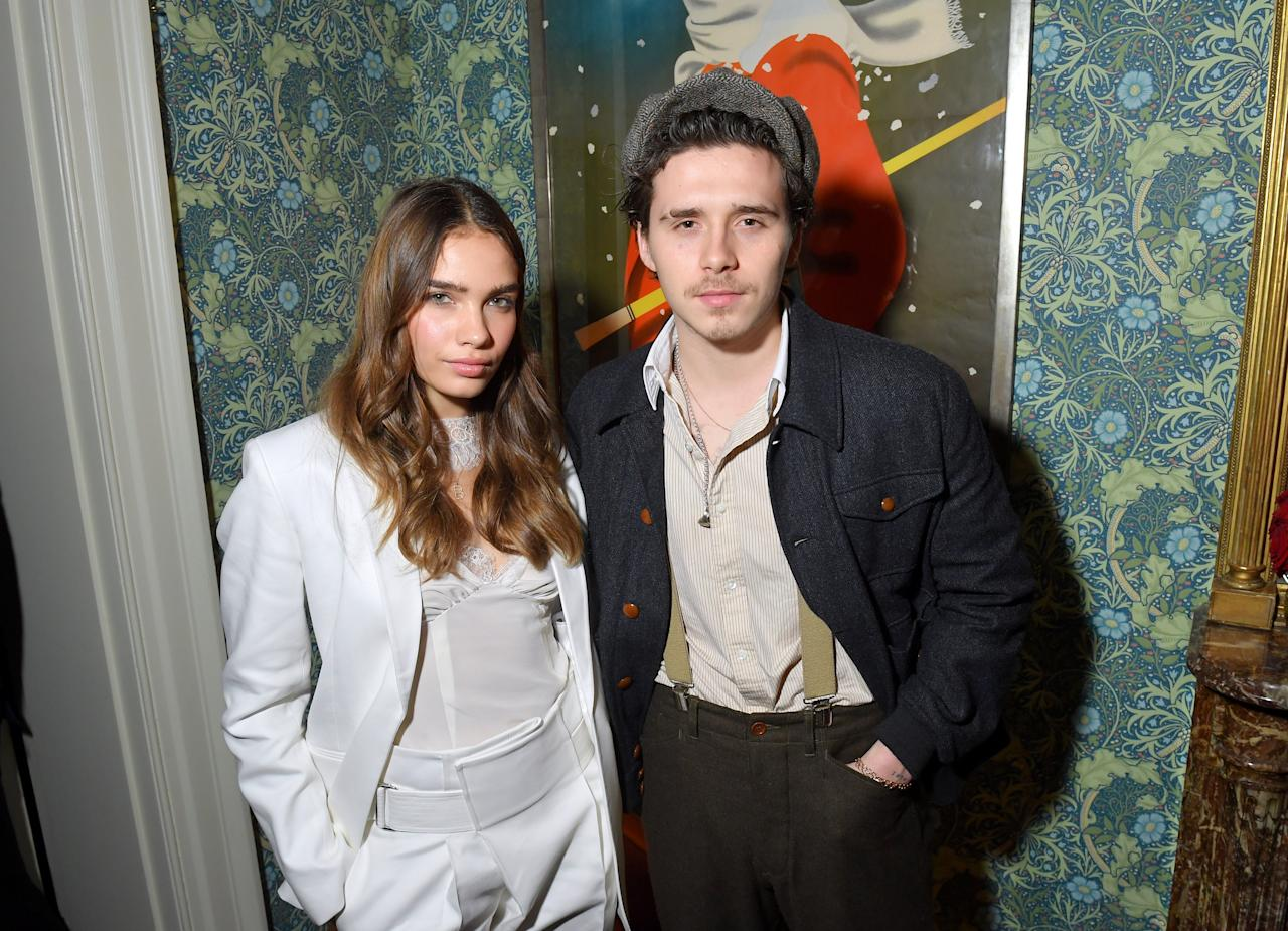Brooklyn Beckham and Hana Cross attend the Victoria Beckham x YouTube Fashion & Beauty After Party at London Fashion Week hosted by Derek Blasberg and David Beckham, at Marks Club on February 17, 2019 in London, England.