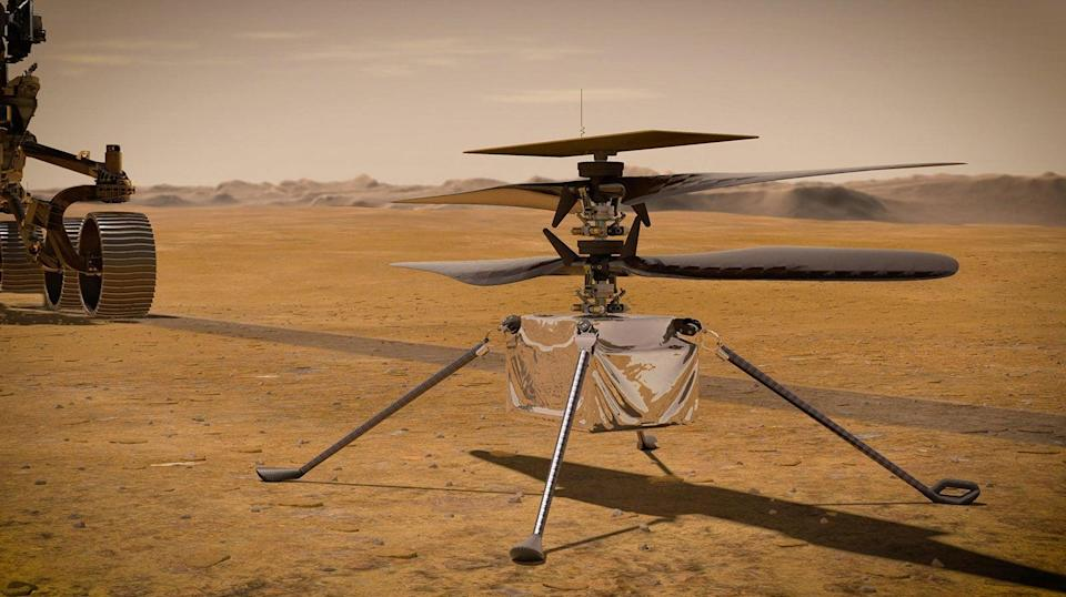 Concept image of NASA's Ingenuity Mars Helicopter standing on the Red Planet's surface  (Getty Images)