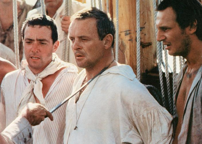 Sessions, left, with Anthony Hopkins and Liam Neeson in The Bounty, 1984 - Alamy
