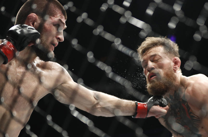 There is a no love lost between Khabib Nurmagomedov and Conor McGregor. (AP Photo/John Locher)
