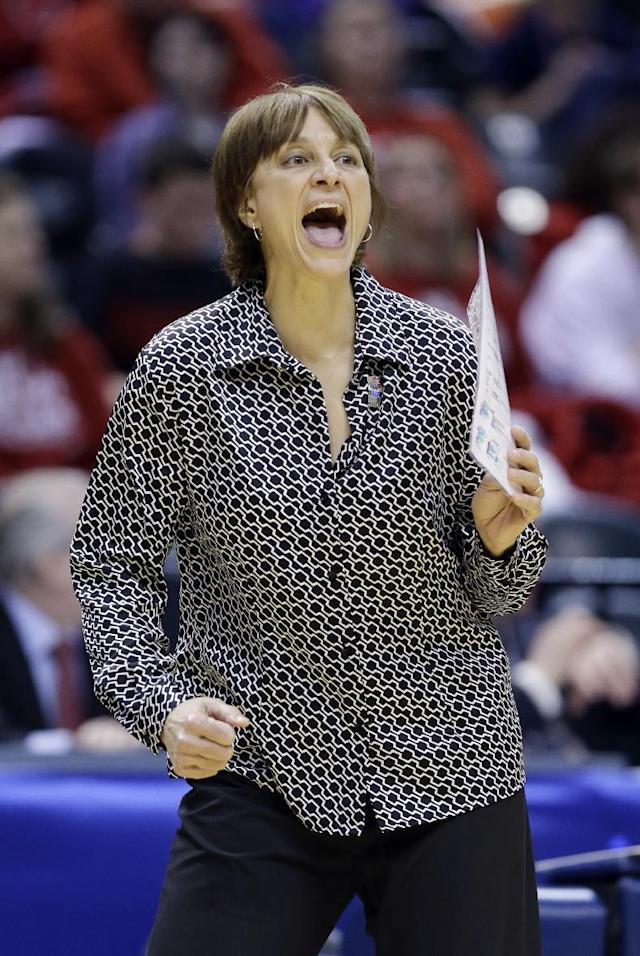 Nebraska head coach Connie Yori yells to her team as they played Iowa in the first half of an NCAA college basketball game in the finals of the Big Ten women's tournament in Indianapolis, Sunday, March 9, 2014. (AP Photo/Michael Conroy)