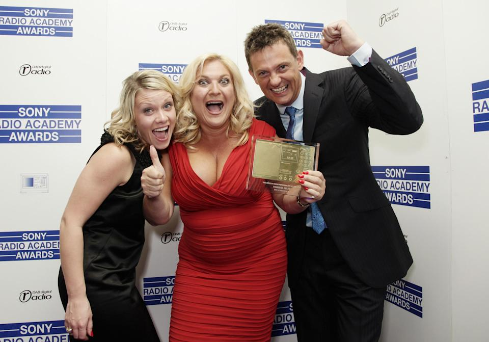 Vanessa Feltz (centre) with her Speech Personality Award, with her producer Kate Williams and Matthew Wright at the Sony Radio Academy Awards, at Grosvenor House in central London. (Photo by Yui Mok - PA Images/PA Images via Getty Images)