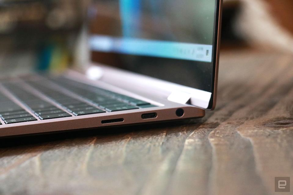 <p>Samsung Galaxy Book Pro 360 review pictures. Close up shot of the ports on the Book Pro 360's right side. There's a USB C port, a headphone jack and a microSD card slot.</p>