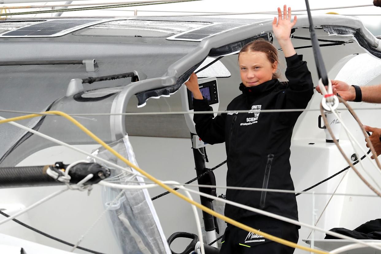 Swedish 16-year-old activist Greta Thunberg on the Malizia II racing yacht in New York Harbor as she neared the completion of her trans-Atlantic crossing to attend a United Nations summit on climate change in New York in August. (Photo: Mike Segar/Reuters)