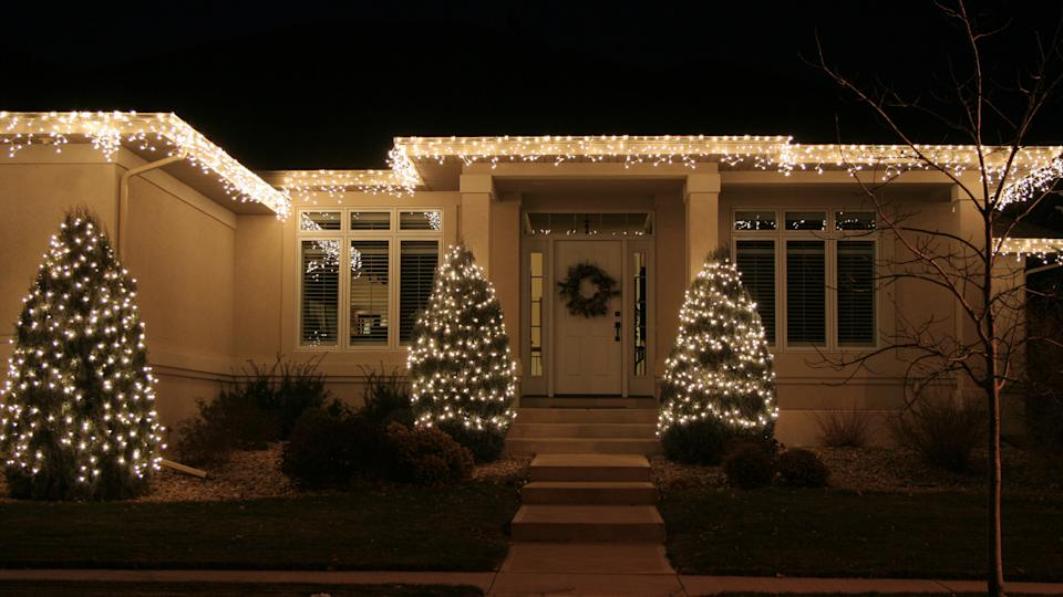 house with christmas lights decorations