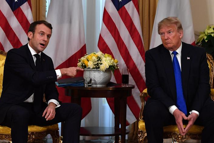 Donald Trump meets French President Emmanuel Macron at Winfield House, London on 3 December, 2019: NICHOLAS KAMM/AFP via Getty Images