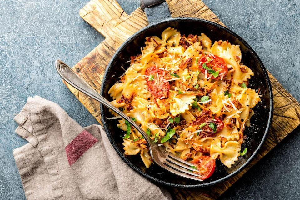"""<p>Farfelle pasta, aka """"the one that looks like bowties"""", is best suited to creamy or tomato sauces.</p>"""