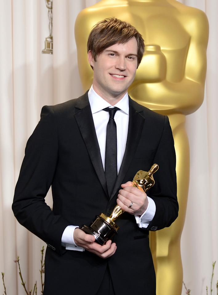 "HOLLYWOOD, CA - FEBRUARY 24:  Filmmaker Shawn Christensen, winner of the Best Live Action Short Film award for ""Curfew,"" poses in the press room during the Oscars held at Loews Hollywood Hotel on February 24, 2013 in Hollywood, California.  (Photo by Jason Merritt/Getty Images)"
