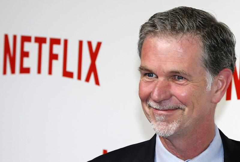 Netflix co-founder and CEO Reed Hastings poses during a photocall for the launch of Netflix in France on September 15, 2014 in Paris