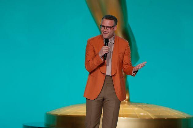 Seth Rogen on stage at the Emmys (Photo: CBS Photo Archive via Getty Images)