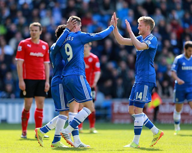 Chelsea's Fernando Torres (left) celebrates with then-team-mate Andre Schurrle (right) (Photo by David Davies/PA Images)
