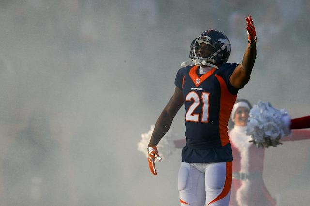Cornerback Aqib Talib of the Denver Broncos escapes a fine or suspension under the NFL's strict personal conduct rules after accidentally shooting himself in the leg (AFP Photo/Justin Edmonds)