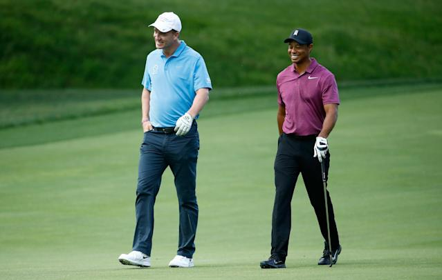 """<h1 class=""""title"""">The Memorial Tournament Presented By Nationwide - Preview Day 3</h1> <div class=""""caption""""> DUBLIN, OH - MAY 30: Peyton Manning and Tiger Woods walk down the fairway on the second hole during the Pro-Am of The Memorial Tournament Presented By Nationwide at Muirfield Village Golf Club on May 30, 2018 in Dublin, Ohio. (Photo by Andy Lyons/Getty Images) </div> <cite class=""""credit"""">Andy Lyons</cite>"""