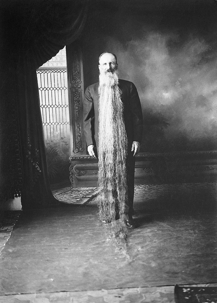 <p>In 1922, the man with the longest beard was Zach T. Wilcox of Carson City, Nevada. He grew out his beard for 41 years, starting in 1881.</p>