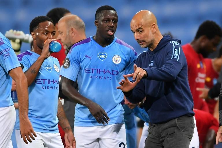 Manchester City's Benjamin Mendy (centre)admitted to breaching coronavirus regulations by hosting a New Year's Eve party