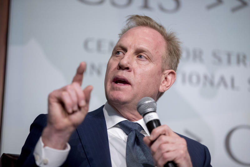 FILE - In this March 20, 2019 file photo, Acting Defense Secretary Patrick Shanahan speaks at the Center for Strategic and International Studies in Washington. A U.S. official says the Pentagon's watchdog agency has cleared Shanahan of wrongdoing in connection with allegations that he had used his official position to favor his former employer, Boeing Co. (AP Photo/Andrew Harnik)