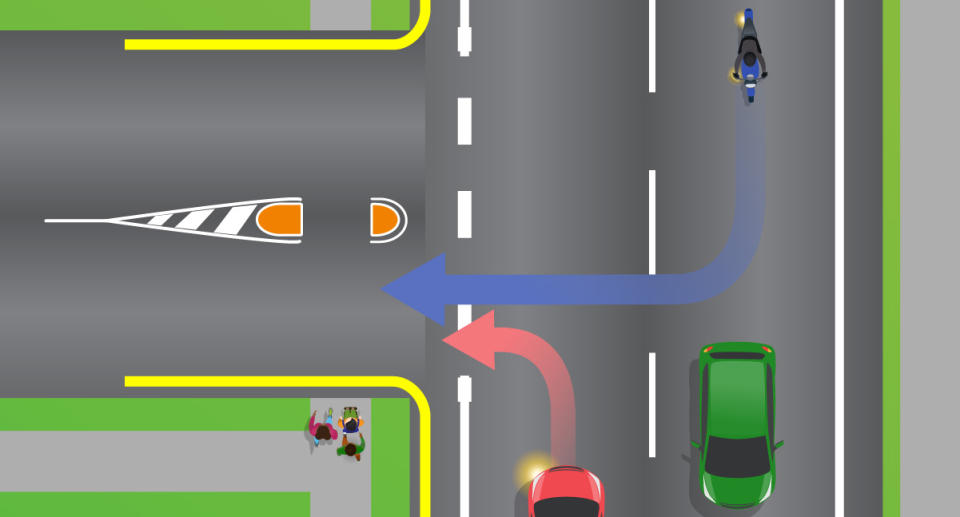 A car and a motorbike are pictured preparing to turn into a street where pedestrians look to cross.