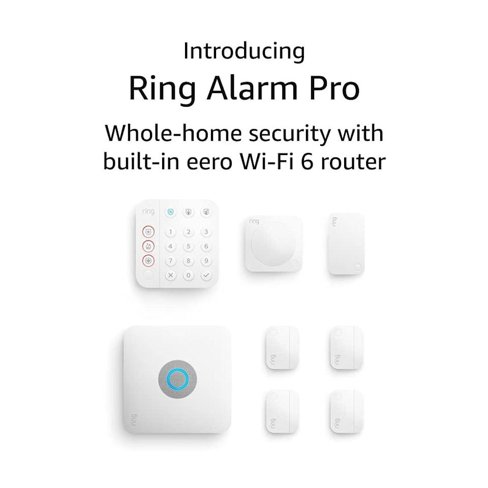 <p>Stay safe and secure with the eight-piece <span>Ring Alarm Pro</span> ($300) that has a built-in eero Wi-Fi 6 router. The kit includes one alarm pro base station, one keypad, four contact sensors, one motion detector, and one alarm range extender. With this kit, you get a secure network with 24x7 backup internet. </p>