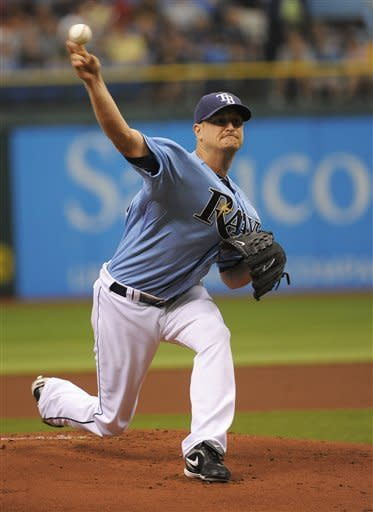 Tampa Bay Rays starting pitcher Alex Cobb delivers to the Miami Marlins during the first inning of an interleague baseball game on Sunday, June 17, 2012, in St. Petersburg, Fla. (AP Photo/Brian Blanco)