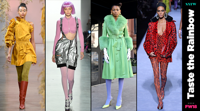 At NYFW, colored hosiery is a big trend for fall. (Photo: Getty/Art: Quinn Lemmers)