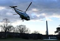 Marine One with US President Donald Trump and first lady Melania Trump departs the White House for the last time