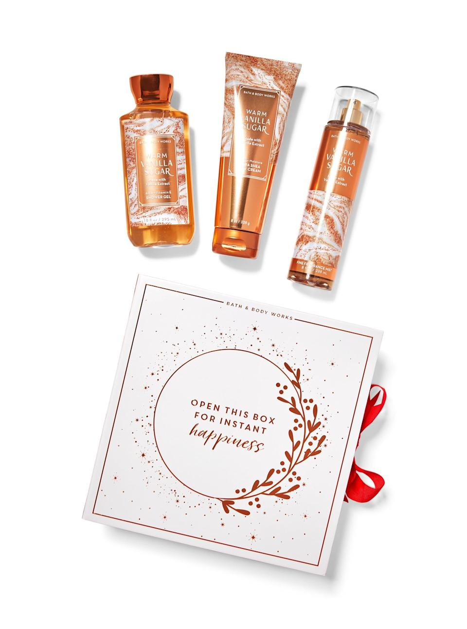 """<h3>Warm Vanilla Sugar Gift Box Set</h3><br>If the cinnamon snickerdoodle candle piqued your interest, go ahead and add this sweet <a href=""""https://www.refinery29.com/en-us/bath-and-body-works-perfume"""" rel=""""nofollow noopener"""" target=""""_blank"""" data-ylk=""""slk:vanilla-scented"""" class=""""link rapid-noclick-resp"""">vanilla-scented</a> gift box to your cart.<br><br><strong>Bath & Body Works</strong> WARM VANILLA SUGAR Gift Box Set, $, available at <a href=""""https://go.skimresources.com/?id=30283X879131&url=https%3A%2F%2Fwww.bathandbodyworks.com%2Fp%2Fwarm-vanilla-sugar-gift-box-set-025138705.html%3Fcgid%3Dgift-sets%23start%3D2"""" rel=""""nofollow noopener"""" target=""""_blank"""" data-ylk=""""slk:Bath & Body Works"""" class=""""link rapid-noclick-resp"""">Bath & Body Works</a>"""